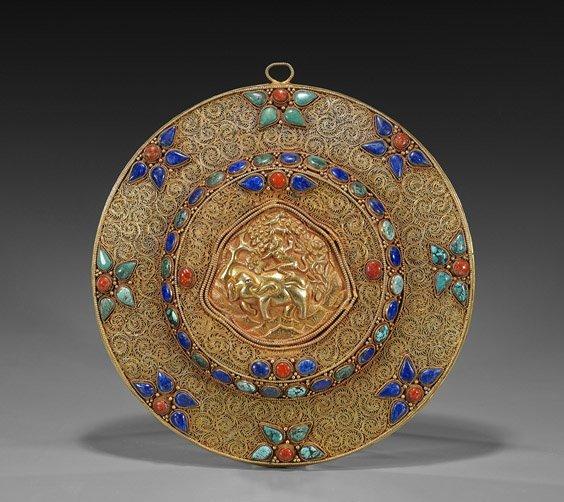 Unusual Nepalese Gilt Copper Filigree Plaque