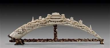 LONG CHINESE CARVED IVORY TUSK/BRIDGE