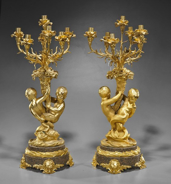 Pair Large Gilt Bronze & Marble Candelabra