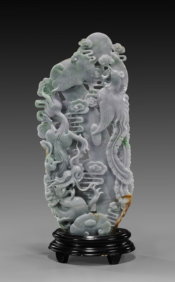Chinese Carved Jadeite Dragon & Phoenix Group