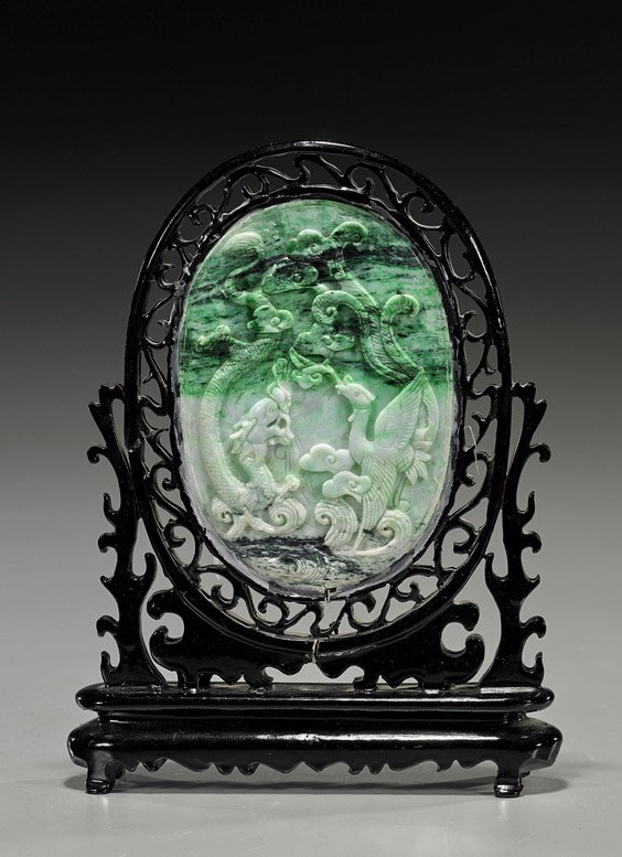 Chinese Carved Jadeite Oval Tablescreen