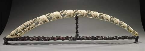 Old Chinese Carved Ivory Elephant Bridge