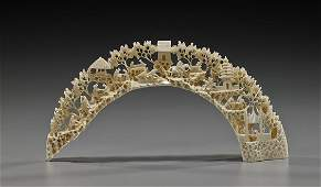 Chinese Carved Ivory Boar's Tusk Bridge