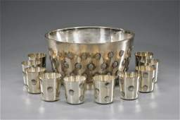 LARGE ROCOCO-STYLE SILVER BOWL & CUPS