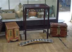 Four Various Items: Chests, Table & Shield