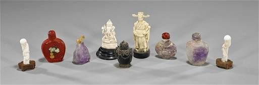 Nine Chinese Items: Snuff Bottles & Ivories