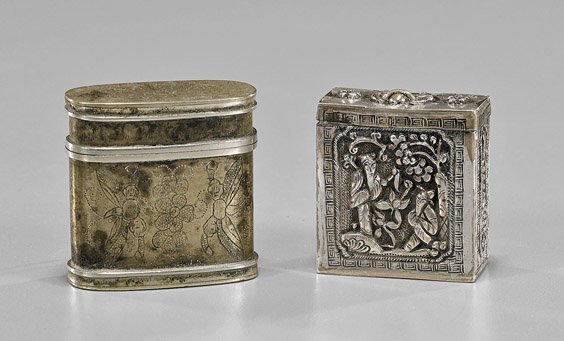 Two Antique Chinese Silver Opium Boxes
