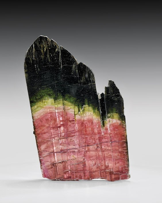 LARGE BI-COLORED TOURMALINE SLICE