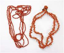 Two MultiStrand Coral Bead Necklaces