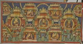 SinoTibetan Leather Thangka Buddha Trinity