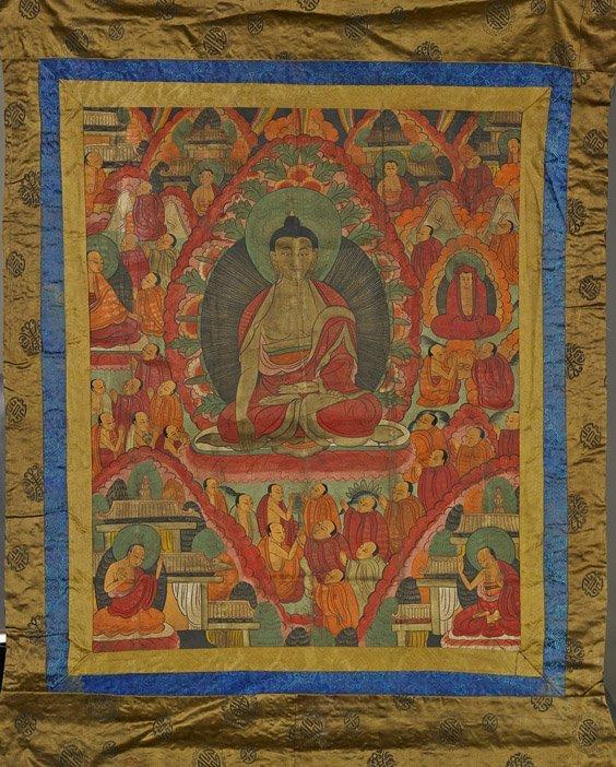 Sino-Tibetan Cloth Thangka: Sakyamuni Buddha