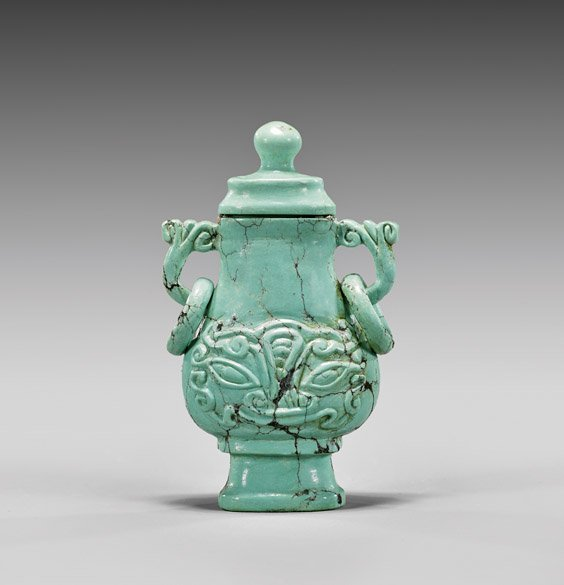 CARVED TURQUOISE SNUFF BOTTLE