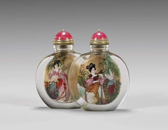 INSIDE PAINTED GLASS DOUBLE SNUFF BOTTLE