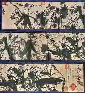 INK ON PAPER HANDSCROLL BY WALASSE TING