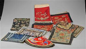Twelve Chinese Silk Embroidered Panels
