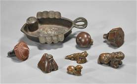 Eight Opium Items: Weights & Bowls