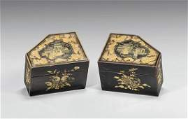 Pair Antique Lacquered Wood Boxes