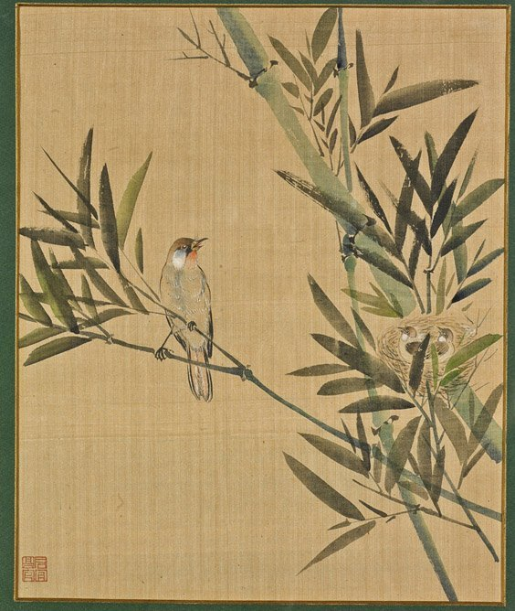 Framed Chinese Silk Painting: Sparrows