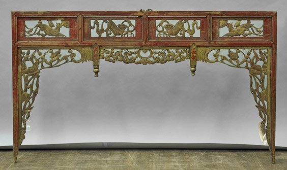Antique Chinese Wood Headboard Panel