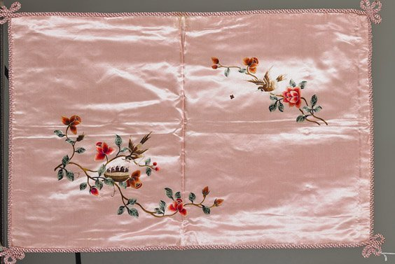 Four Old Chinese Silk Embroidered Pillow Shams