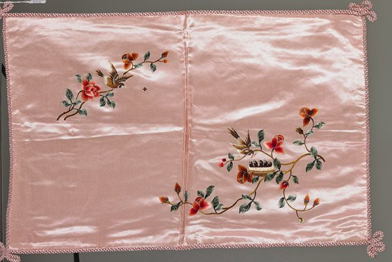 Four Old Chinese Silk Embroidered Pillow Shams - 2