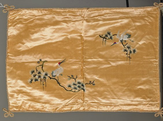 Four Old Chinese Silk Embroidered Pillow Shams - 3