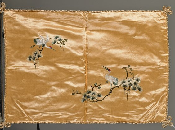 Four Old Chinese Silk Embroidered Pillow Shams - 4