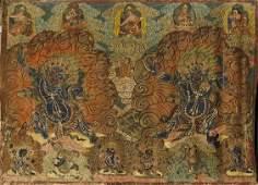 SinoTibetan Painted Thangka Vajrapani