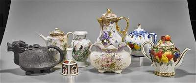 Collection of Eight Porcelains: Teapots & Bell