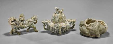 Three Chinese Archaistic Hardstone Carvings