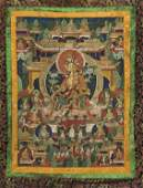 OLD SINOTIBETAN PAINTED THANGKA