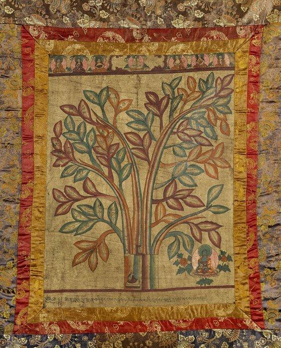 Two Tibetan Linen Thangkas: Root Tantra & Vajrapani