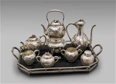 ANTIQUE SAMURAI SHOKAI SILVER TEA SET