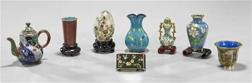 Eight Chinese & Japanese Enamel Items