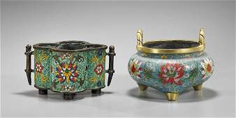 Two Chinese Cloisonné Censers