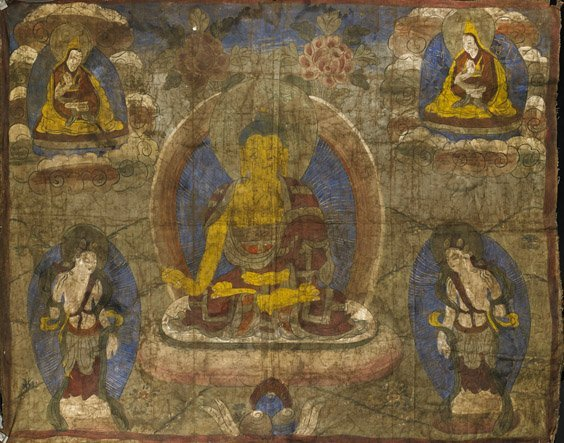 Chinese Painted Linen Thangka