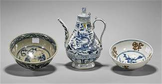 Three Chinese Blue & White Porcelains
