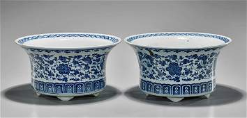 Pair Old Chinese Blue  White Planters