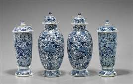 Two Pairs Chinese Blue  White Vases