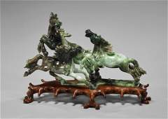 Old Chinese Carved Jade Horse Group