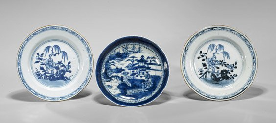 Three Antique Chinese Porcelain Dishes
