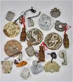 TwentyOne Archaistic JadeHardstone Pendants