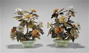 """Pair Chinese Hardstone Flowering """"Trees"""""""