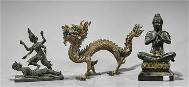 Three Thai Bronze Figures & Dragon