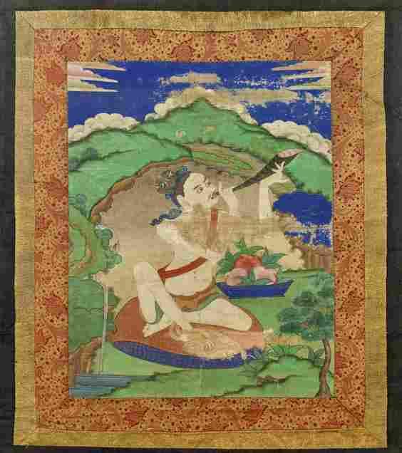 Antique Sino-Tibetan Painted Thangka: Bodhisattva