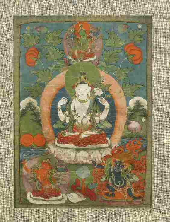 Old Sino-Tibetan Painted Thangka: Avalokitesvara