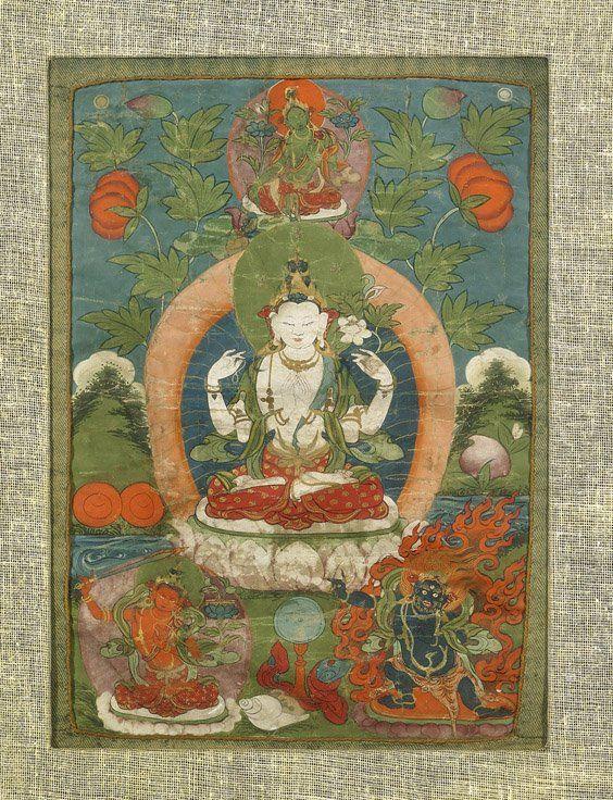 Old Sino-Tibetan Painted Thangka: Avalokitesvara
