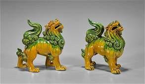 Pair Chinese Sancai Glazed Lions