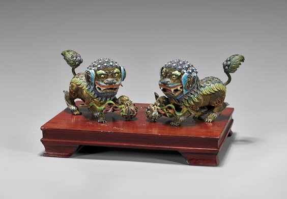 PAIR ENAMELED SILVER-GILT FO LIONS