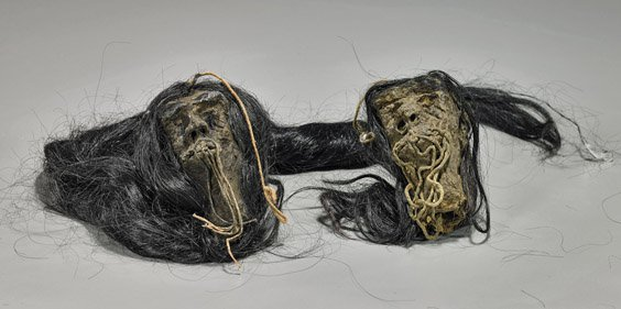 "Two Paper Mache ""Shrunken Heads"""